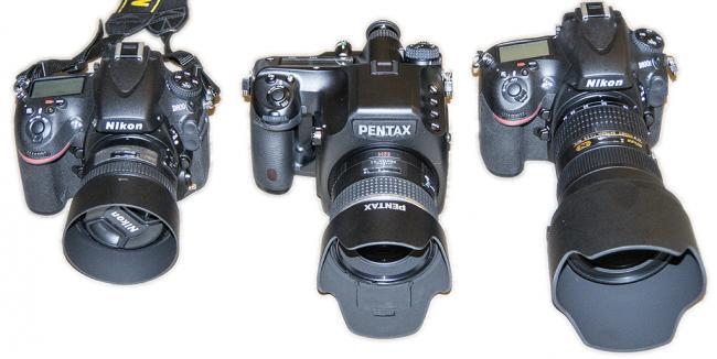 Nikon D800 w/ 50mm, Pentax 645D w/55mm, Nikon D800E w/24-70mm