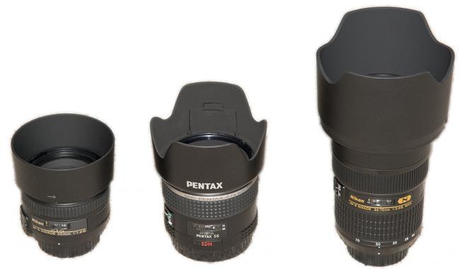 Nikon 50mm F1.4G, Pentax D-FA 645 55mm F2.8, Nikon 24-70mm F2.8G