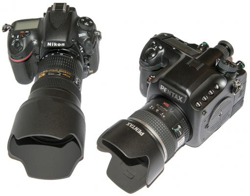 Nikon D800E and Pentax 645D with lenses