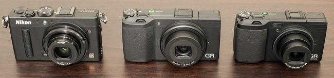 Nikon Coolpix A, Ricoh GR, and Ricoh GRD IV