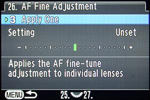 Pentax K-3 AF Adjustments