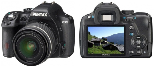 Pentax K-50: front and back