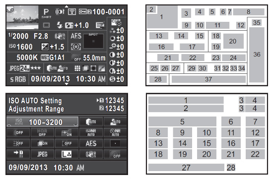 Pentax K-3 Status and Detailed Info Screens