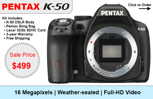 Pentax K-50 Fire Sale: $499