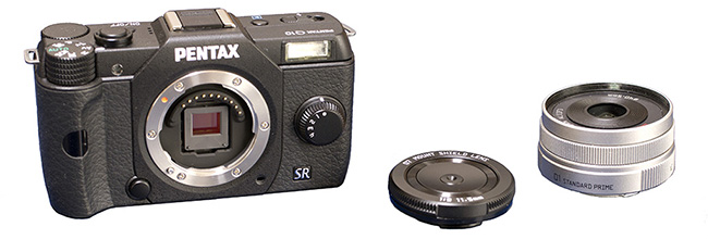 Pentax Q10 with 07 Cap Lens alongside the 01 Standard Prime