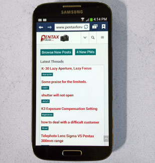 New Pentax Mobile Site