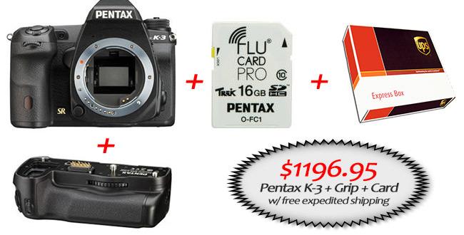 Pentax K-3: $100 Off + Free Grip