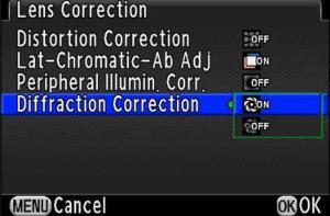 Pentax K-3 Diffraction Correction