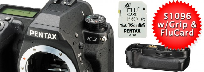 Pentax K-3: $1096 ($100 price drop)