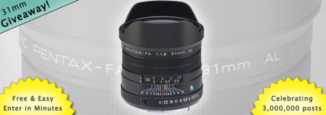 Win an FA 31mm Lens: 3 Million Post Giveaway