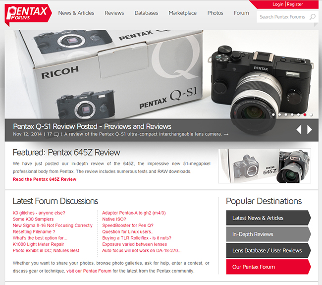 New Pentax Forums Homepage