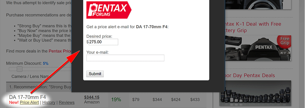 New Pentax Price Alert Feature