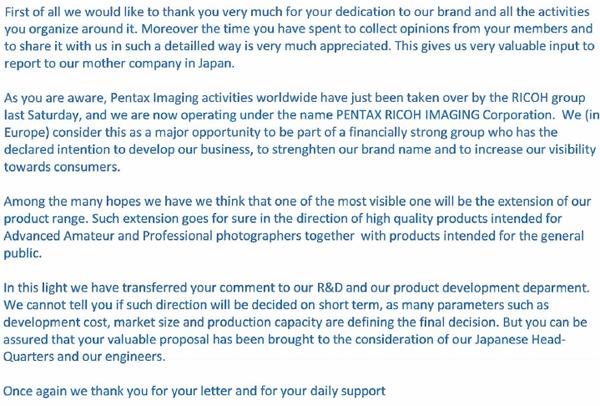 PENTAX全福機身官方正式回應PENTAX使用者