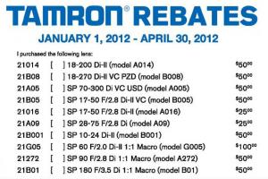 Pentax Tamron Lens Rebates