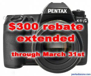 Pentax Extends K-5 Instant Rebate