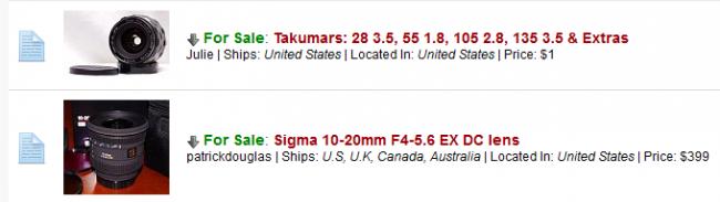 Pentax Marketplace Thumbnails