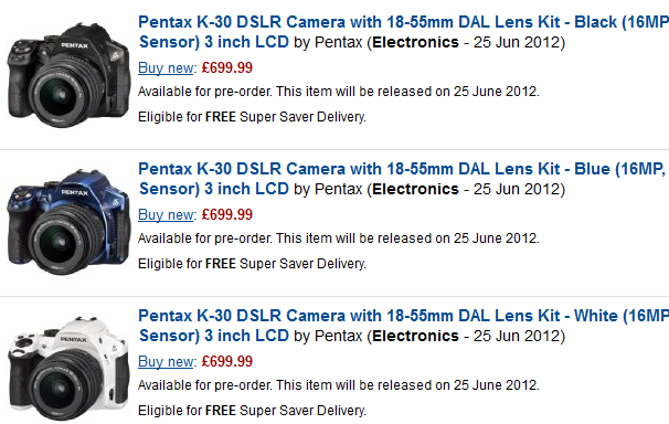 Pentax K-30 on Amazon UK