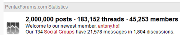 PentaxForums.com Hits the 2-million Post Milestone!