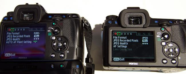 LCD of the Pentax K-5 and K-5 II