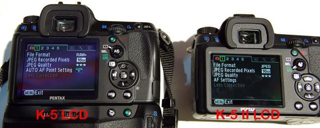 Pentax K-5 vs K-5 II LCD