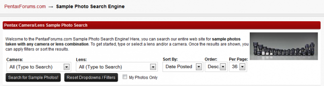 Pentax Sample Photo Search Engine