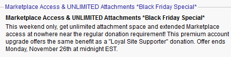 Black Friday Special: Unlimited Forum Attachments!