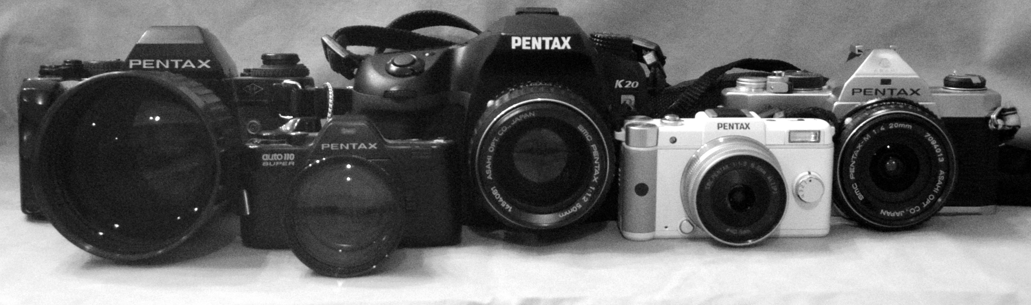 From left: LX w/135 1.8; Auto 110 Super w/70; K20d w/50 1.2; Q w/01; MX w/20 4