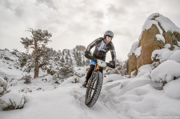 Fat biking on snowy trails
