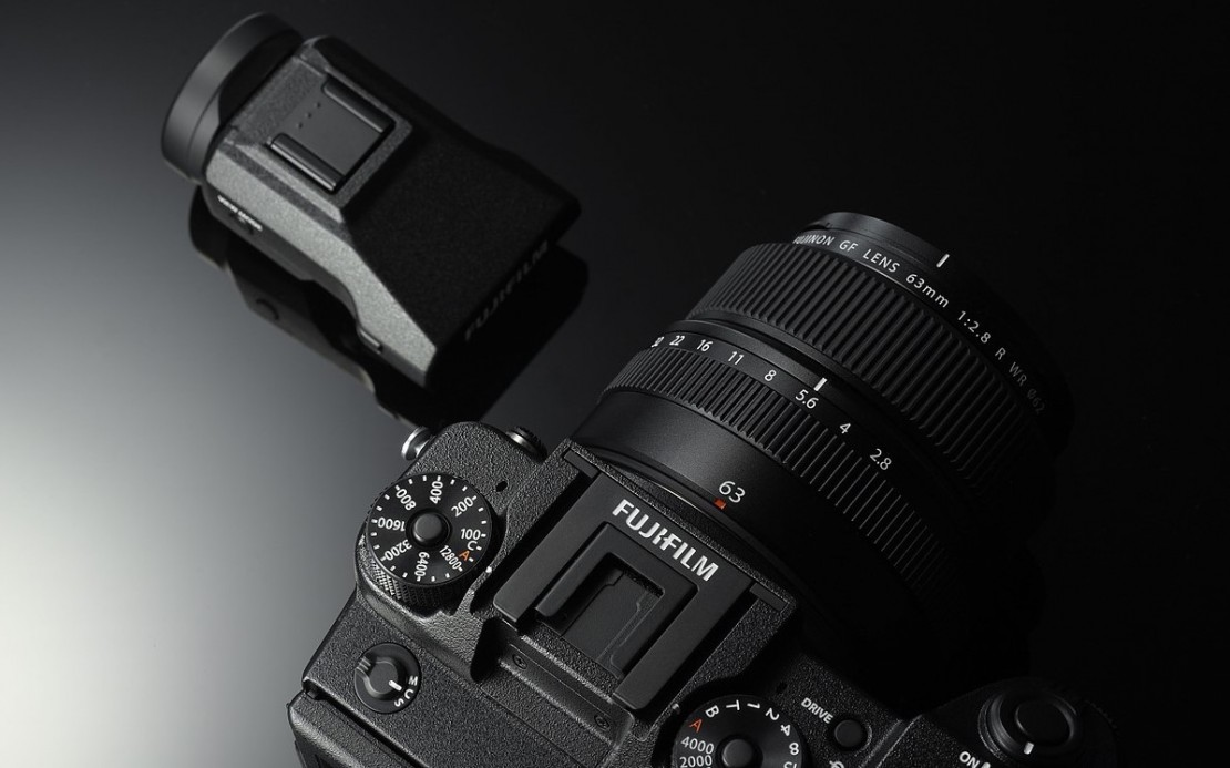 The Fujifilm GFX 50S features a tilting, removable OLED electronic viewfinder.