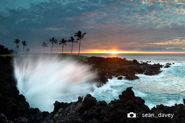 A spectacular Sunset on the Waikaloa coast of the Big Island of Hawaii.    This is actually just half of the full panoramic landscape...