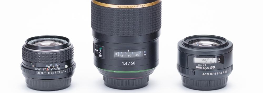 Pentax M, FA, and D FA* 50mm F1.4 comparison