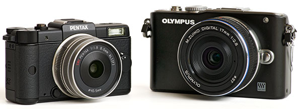 Pentax Q and Olympus E-PL3 with lenses
