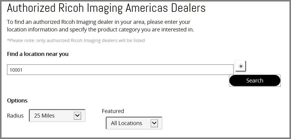 Dealer search