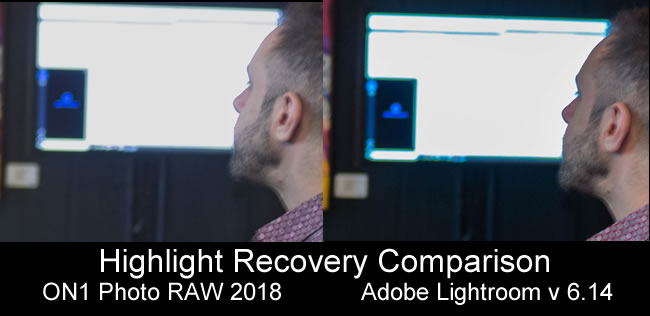 Lightroom out-performed ON1 on highlight recovery