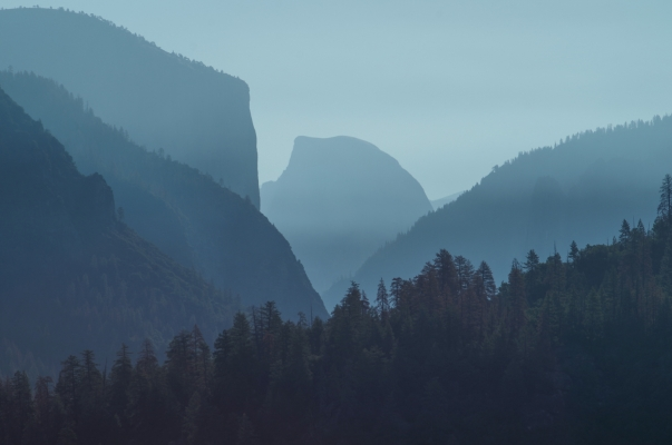 Half Dome in morning mist, Yosemite National Park