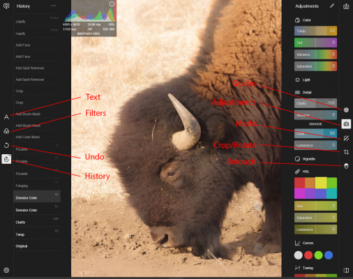 Polarr interface - annotated