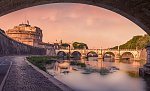 Under the bridge near the Castel S'ant Angelo in Rome.      K30 2345 Edit Italy 2015