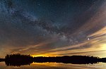 Panorama of the spring Milky Way.  6 frames, each 60 s exposure iso 400 with K-50 and Samyang 16 mm f/2.0.
