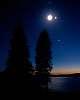evening moon and venus