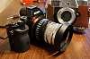 Schneider xenar 45mm f/2.8, tele-xenar 135mm /4.0, xenon 50mm f/1.9, Kodak Retina IV