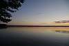 Sunset behind a pond