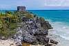 Mayan ruin meets turquoise Caribbean Sea