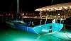 Sailboat on lightened sea