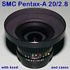 EXC+++ A 20/2.8 w/ Dedicated MH-RB Hood (w/ hood case) & HD-100 Hard Lens Case
