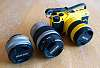 Pentax Q7, Yellow, with 01, 02, and 06 lenses