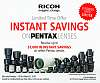 Instant Savings on select Pentax Lenses Feb 10 thru Mar 31, 2018