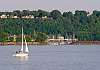 Sailing on the Saint Lawrence on a nice summer evening, CANADA.