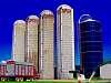 Dairy farm silos and harvest equipment, Quebec, CANADA