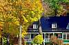 House surrounded by Fall foliage, QUEBEC.