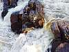 Water and rocks, close-up detail.